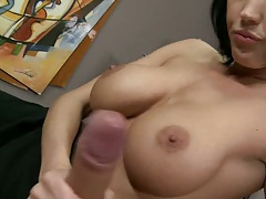 Big tits brunette Tiffany hand job and ass licking