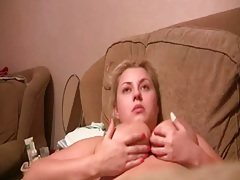 Big natural tits milf Ninnka in home video blowjob