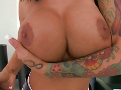Big tits Angelina Valentine touches big tits