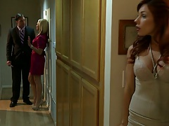 Redhead babe Kirsten Price spies on a couple