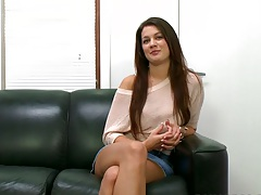 Audition time with Kelsey Jones sitting down in a tight mini skirt