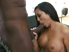 Deepthroat blowjob from busty milf on black cock