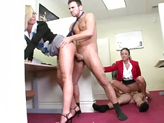 Cowgirl fucking on cubicle floor