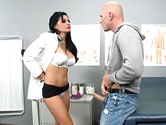 After this big tits doctor helped Johny she gets naked