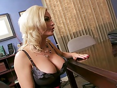 Blonde big tits milf Diamond Foxxx office table blowjob