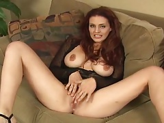 Redhead big tits bitch spreading legs and pov cock sucking