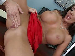 Richelle deep fingered and blowjob behind desk