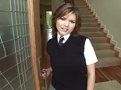 Prep school teen Leigh Livingston shows ass up her uniform