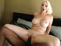 Blonde milf what a horny slut humping black dude