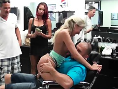 Blonde slut fucked int he barbers chair by Jmacs ock