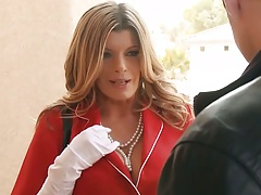 Sexy milf Kristal Summers in business suit handjob for fully clothed male