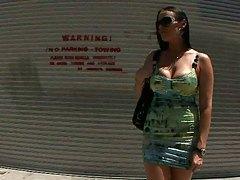 Vanilla Deville dressed up big tits milf outdoors