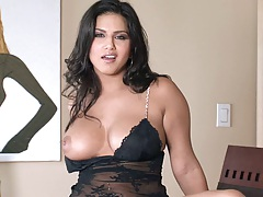 Big tits brunette super hot babe Sunny Leone showing tits and undressing